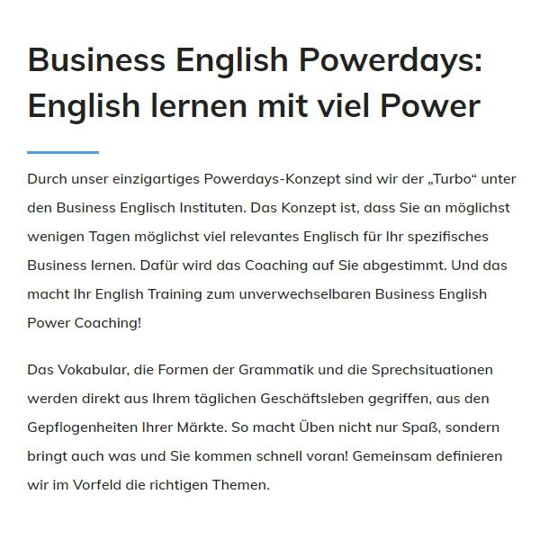Business English Powerdays für  Bruchsal